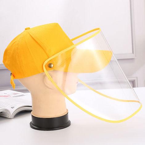 Unisex Baseball Cap Anti-Dust Anti-Wind Adjustable Removable Transparent Shield Outdoor Cap, Yellow