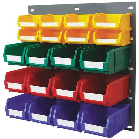 Unité de stockage de panneaux à persiennes RS PRO Bleu, vert, rouge, jaune en PP, 438mm x 457mm