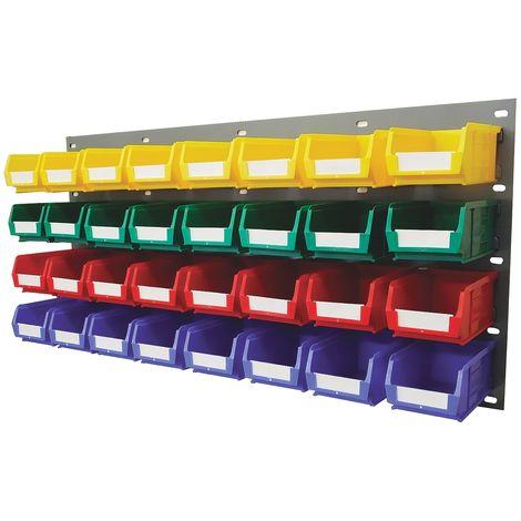 Unité de stockage de panneaux à persiennes RS PRO Bleu, vert, rouge, jaune en PP, 438mm x 914mm