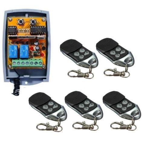 Universal 2-canaux rolling code Recepteur + 5 Telecommandes pour faire fonctionner tout systeme d'automatisation 12-24V DC 433,92MHz
