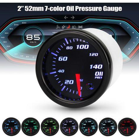 """Universal 2"""" 52mm 12V Jauge Indicateur de Pression d'huile W / Capteur 7-Couleur LED"""