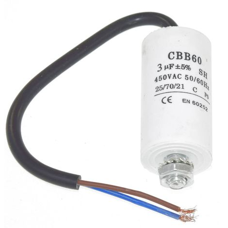 Universal 3UF Capacitor with 19cm Cable Connectors