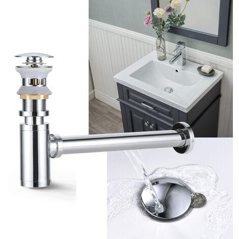 """Universal Ablaufgarnitur + Siphon für Waschbecken, WOOHSE Ablaufventil mit Überlauf Pop-Up Click Clack Ventil mit Geruchverschluss für Waschtisch 1/4"""", Abflussgarnitur Werkzeugloser Einbau"""