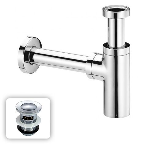 Universal Bathroom Basin Sink Bottle Trap Waste With FREE Basin Waste