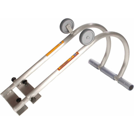 Universal- Dachfirsthaken kompatibel mit allen Arten von Leitern. Der Firstbügel wir an den Sprossen fixiert; große Auflagefläche aus Gummi schützt
