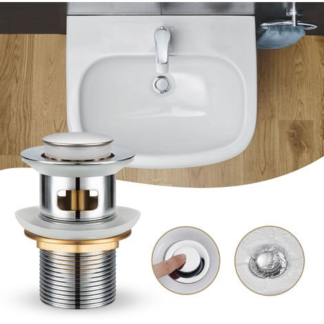 "Universal Drain Set with Overflow, WOOHSE 11/4 ""Pop-Up Drain Valve Drain Valve for Push Open Drain Wash Basin Click on Clack Drain Valve Drain Set Stainless Steel Sink Plug"