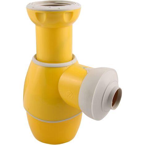 Universal Flaschengeruchsverschluss | Einsetzbar in Bad und Küche | Waschbecken | Waschtisch | Handwaschbecken | Bidet | Küchenspüle | Gelb