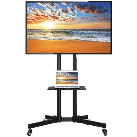 Universal Floor TV Stand on Wheels for 32 inch - 65 inch Samsung/LG/Panasonic/Sony Bravia/Toshiba Flat Screen Mobile TV Trolley Stand with Brackets Tall Floor Stand, Height Adjustable