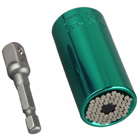 Universal Gator Magical Grip Plug Adapter with 7-19mm Electric Drill Adapter Tool (Green, 1Pc)