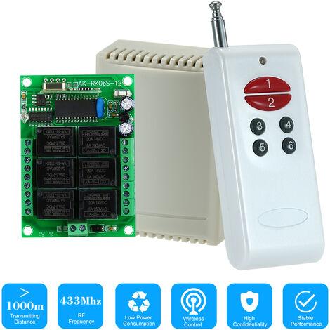 Universal Relay Wireless RF Remote Control Switch AK-1000-6A+AK-RK06C-12*1
