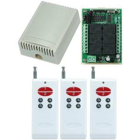 Universal Relay Wireless RF Remote Control Switch AK-1000-6A*3+AK-RK06C-12