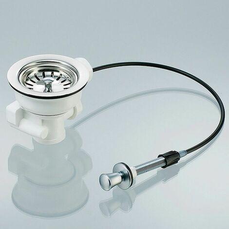 Universal Siebkorb-Ventil Durchmesser 114 mm (3 1/2 Zoll ) mit Zugbetätigung - Ablauf nach unten mit 2 Überlauf-Anschlüssen 1 Zoll