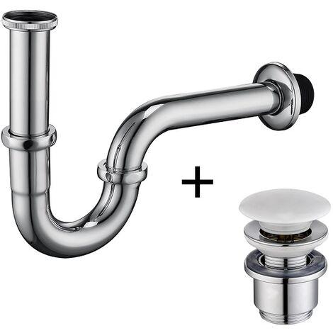 Universal Siphon mit Ablaufgarnitur für Waschbecken und Waschschalen mit Überlauf, Chrom Pop Up Ventil mit Abflussgarnitur passgenau, Röhrensiphon von 1 1/4 Zoll Gewindeanschluss