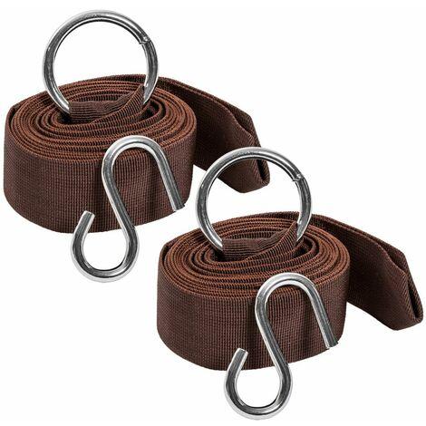 Universale Befestigungsriemen für Hängematte, 320cm - Hängemattengestell, Lederriemen - braun
