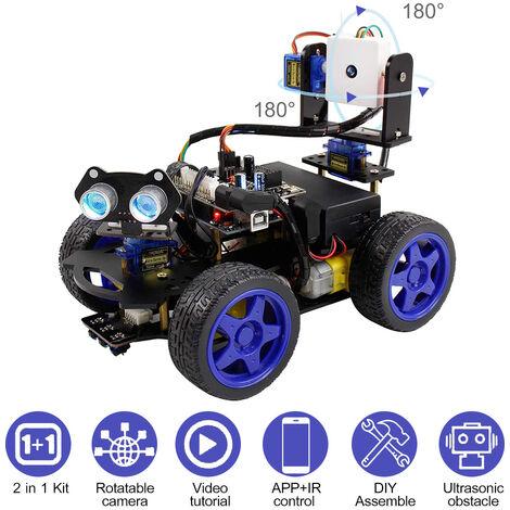 Uno R3 Intelligent Robot Kit De Voiture Camera Wifi Telecommande Stem Education Voiture Jouet Robotique Kit Compatible Avec Arduino Diy Support D'Apprentissage Scratch De Codage Pour Les Adolescents Enfants Adultes