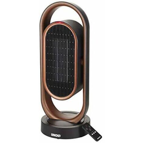Unold 86535 86535-Ventilador de calor (cerámica, 1800 W, oscilación de 80°, ángulo de inclinación de 45°, con protección antivuelco y mando a distancia), Cobre y negro