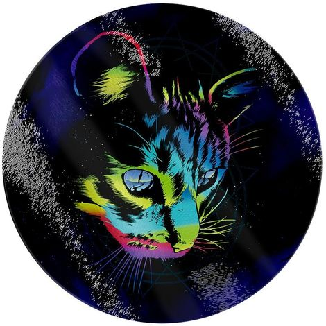 Unorthodox Collective Rainbow Cat Circular Glass Chopping Board (One Size) (Multicoloured)