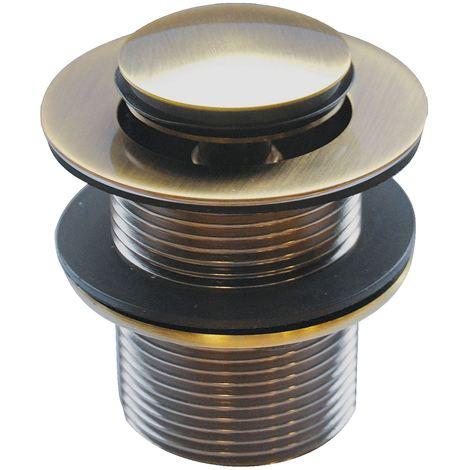 Unslotted Button Waste Basin Plug Sink Click Clack Retro Bathroom Antique Brass