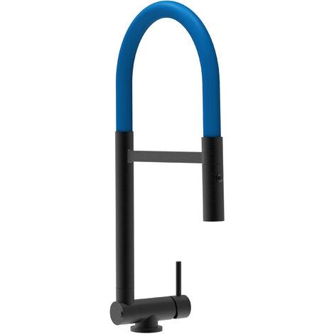Unterfenster Wasserhahn Vorfenster Umklappbar 4,5 CM chrom schwarz matt Kuechenarmatur mit blau 360 schwenkbarem Auslauf und abnehmbare 2 strahl Handbrause