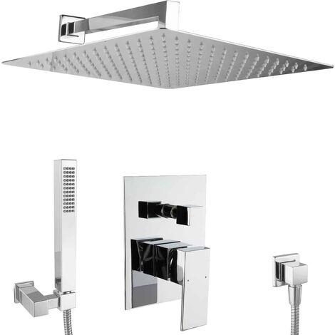 Unterputz Dusch Set 40cm Eckig Duschsystem XXL
