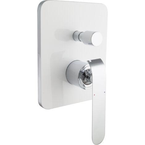 Unterputz Duscharmatur Mischbatterie 2-Wege Weiß Chrom
