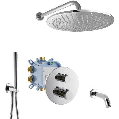 Unterputz Duschsystem 3-Wege für Badewannen mit Thermostat Mischbatterie Fertigmontage