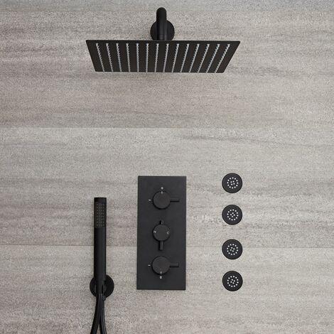 Unterputz Duschsystem Schwarz mit Thermostat, 30x30cm Regendusche, Handbrause und Körperdüsen - Hudson Reed Nox