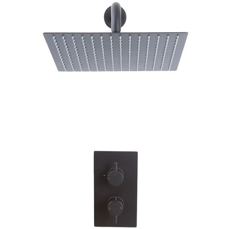 Unterputz Regendusche 30x30cm Duschsystem Schwarz mit Thermostat, Duschkopf Wandmontage - Hudson Reed Nox