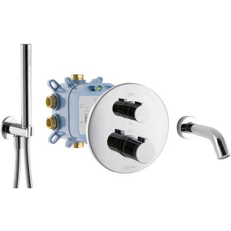 Unterputz Thermostat Set für Badewannen Fertigmontage Mischbatterie