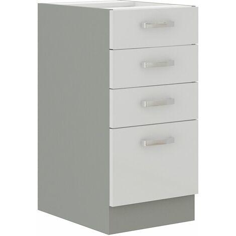 Unterschrank 40 Bianca Weiß Hochglanz + Grau Küchenzeile Küchenblock Küche Vario