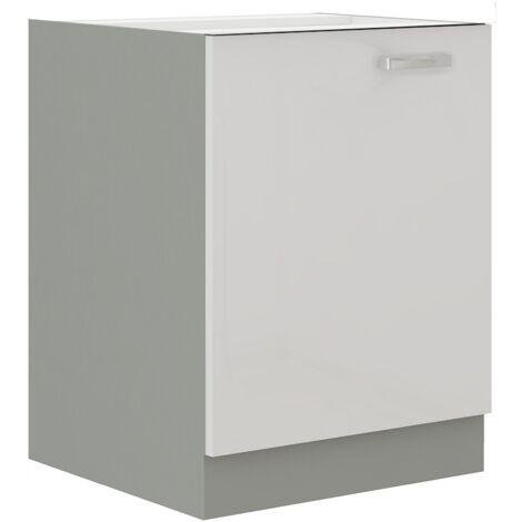 Unterschrank 60 Bianca Weiß Hochglanz + Grau Küchenzeile Küchenblock Küche Vario