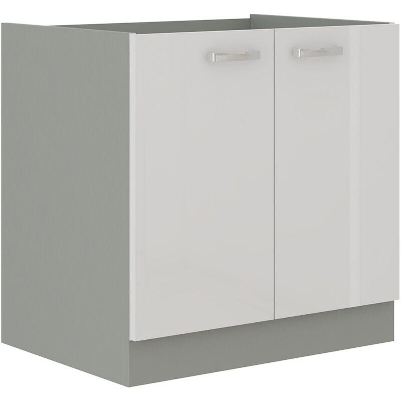 Unterschrank 80 Bianca Weiß Hochglanz + Grau Küchenzeile Küchenblock Küche