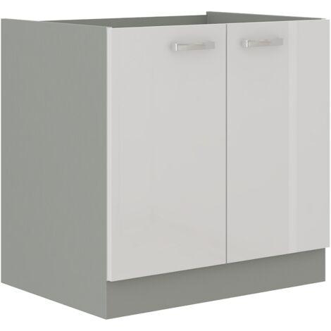 Unterschrank 80 Bianca Weiß Hochglanz + Grau Küchenzeile Küchenblock Küche Vario