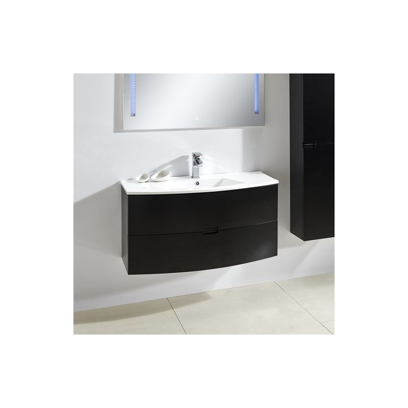 Badmöbel Unterschrank ARCUA in schwarz inkl. Waschtisch