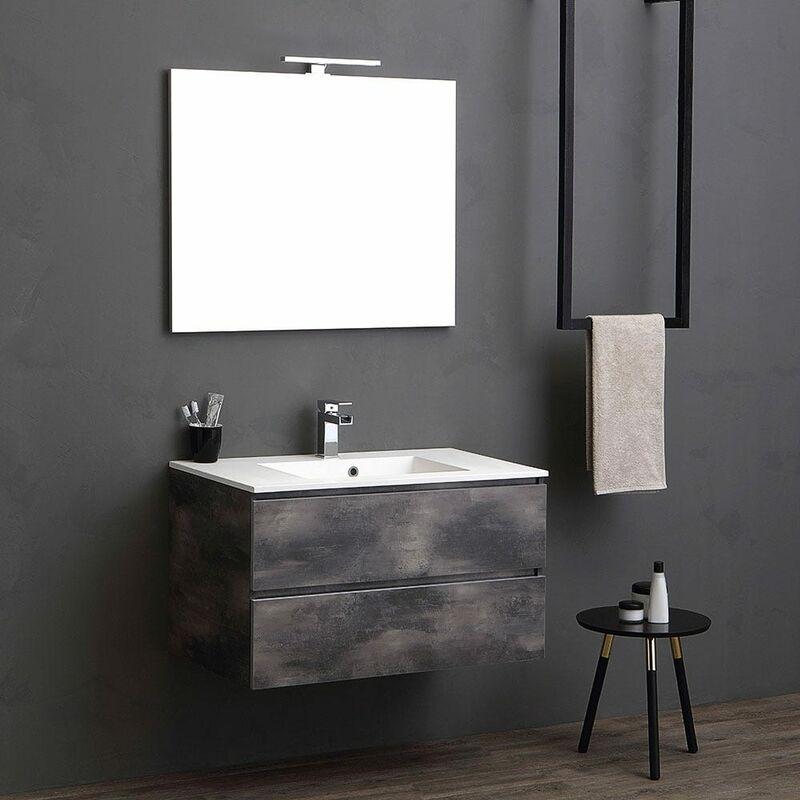 Unterschrank Mit Waschbecken Und Spiegel 90 Cm Modern