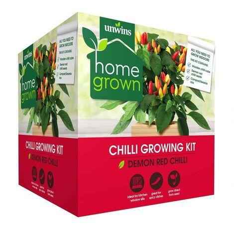 "main image of ""Unwins Chilli Growing Kit Kitchen Window Indoor Garden Wooden Planter Box"""