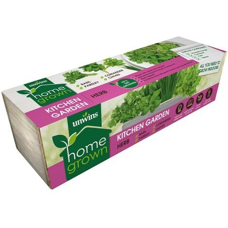 Unwins Herb Kitchen Window Indoor Garden Wooden Planter Box Growing Kit Basil
