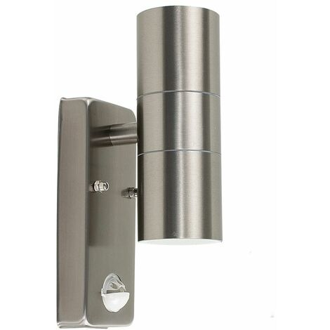 Up/Down IP44 Rated Outdoor Security Wall Light - PIR Motion Detector + LED GU10 Bulbs