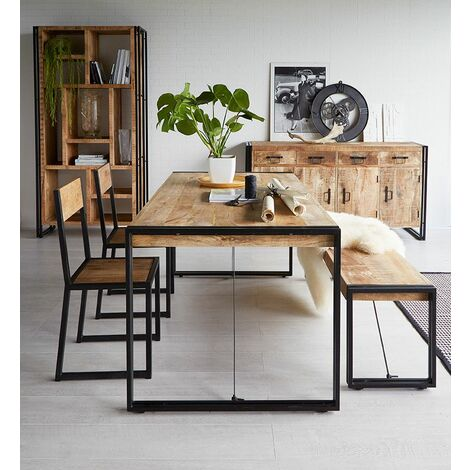 Upcycled Industrial Vintage Mintis Dining Table Set - Light Wood