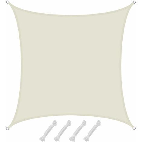 4x4 Sonnensegel UV Schutz Segel Regenschutz Windschutz Polyester Beige
