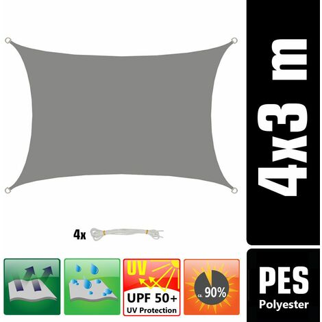 UPF50+ Toldo UV 3x4 m Rectángulo Poliéster Hidrófugo Vela de Protección Gris