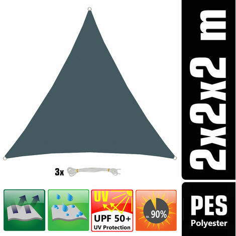 UPF50+ UV Sonnensegel 2x2x2 Polyester Dreieck Wasserabweisend Garten Segel Grau