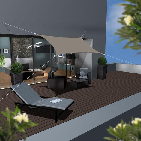 UPF50+ UV Sonnensegel 2x3 Polyester Rechteck Wasserabweisend Garten Balkon Braun