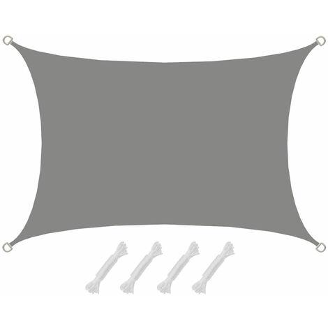 UPF50+ UV Sonnensegel 2x3 Polyester Rechteck Wasserabweisend Garten Balkon Grau