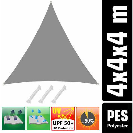 UPF50+ UV Sonnensegel 4x4x4 Polyester Dreieck Wasserabweisend Garten Segel Grau