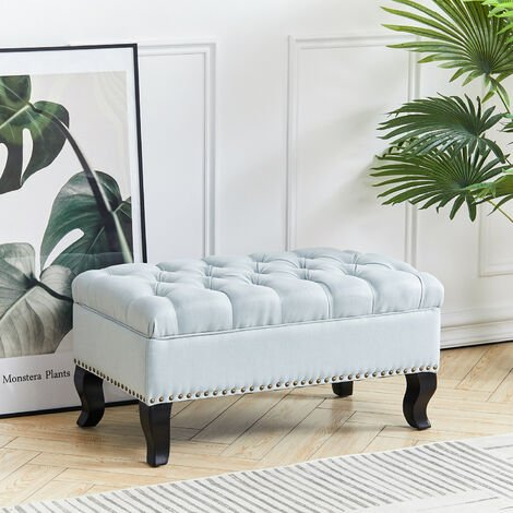 Upholstered Chesterfield Footstool Pouffe Fabric Foot Stool Seat Small Buttoned Bench, Offwhite