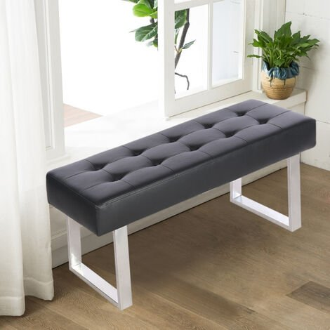 """main image of """"Upholstered Dining Bench Black Button Ottoman Chair Faux Leather with Steel Legs"""""""