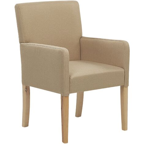 """main image of """"Upholstered Dining Chair with Arms Beige Fabric Wooden Legs Rockefeller"""""""