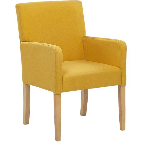 """main image of """"Upholstered Dining Chair with Arms Yellow Fabric Wooden Legs Rockefeller"""""""