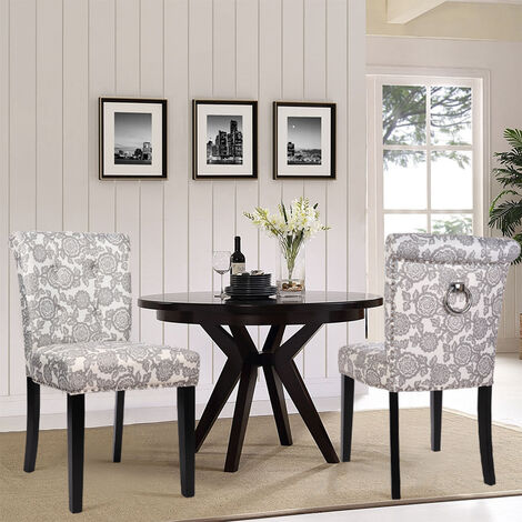 Upholstered Dining Chairs 2pc Ring Knocker Studs Button Chair